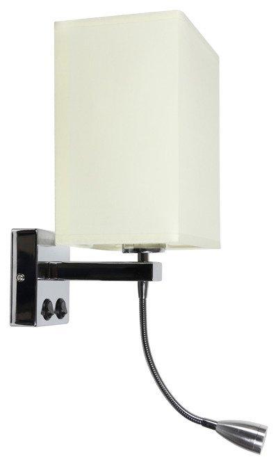 Kinkiet chromowy beżowy z lampką LED do czytania Boho Candellux 21-58270