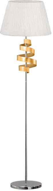 Lampa podłogowa czrom / złoty abażur z tkaniny Denis Candellux 51-23506