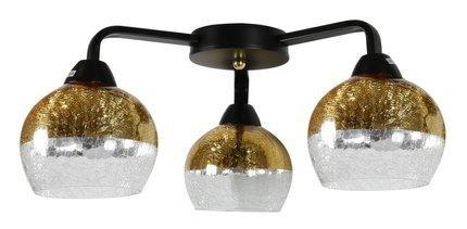 Lampa sufitowa czarno-złota szklane klosze 3x60W Cromina Gold Candellux 98-57273