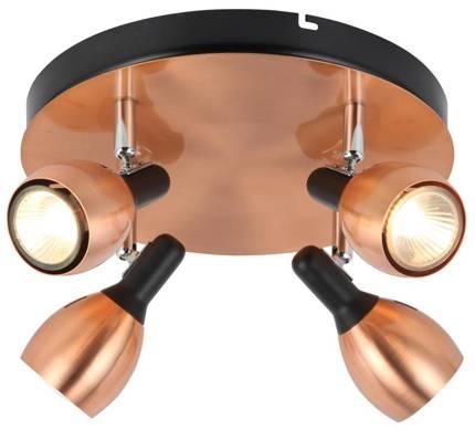 Lampa sufitowa plafon 4X50W GU10 miedziany CROSS 98-34878