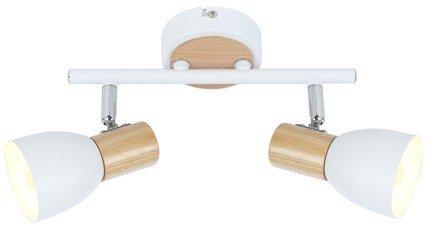 Lampa sufitowa/ścienna biała+drewno 2xE14 Anabel 92-61676