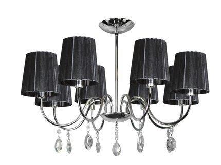 Lampa wisząca chrom/czarna z kryształkami 8x40W Sorento Candellux 38-38067