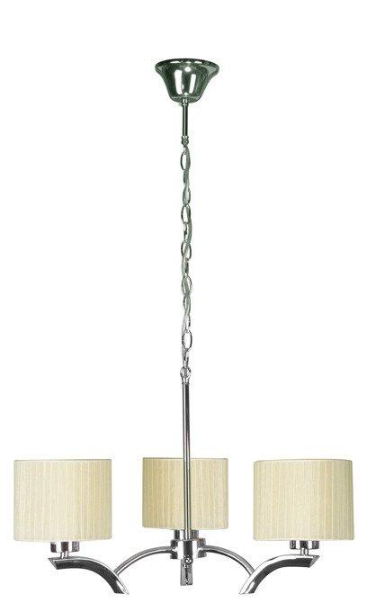 Lampa wisząca chrom + krem abażur 3x60W żyrandol Draga Candellux 33-04208