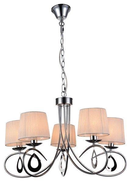 Lampa wisząca chromowa / biały abażur tkany 5x40W Arnika Candellux 35-21687