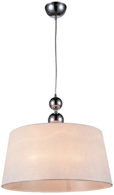 Lampa wisząca chromowa z białym abażurem z tkaniny Clara Candellux 31-21601