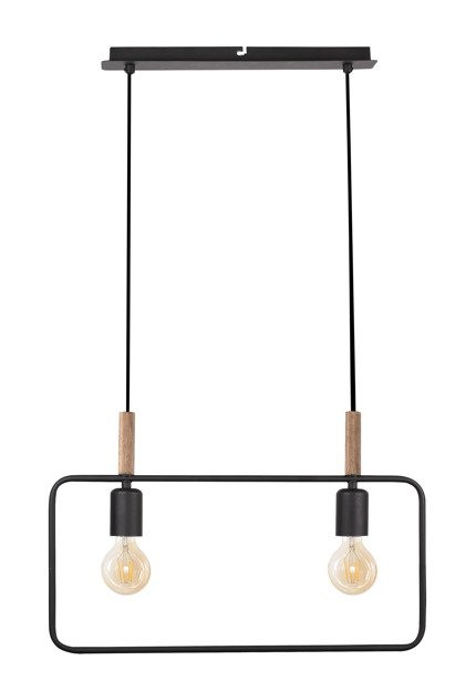 Lampa wisząca czarna regulowana wysokość 2x60W E27 Frame 32-73518
