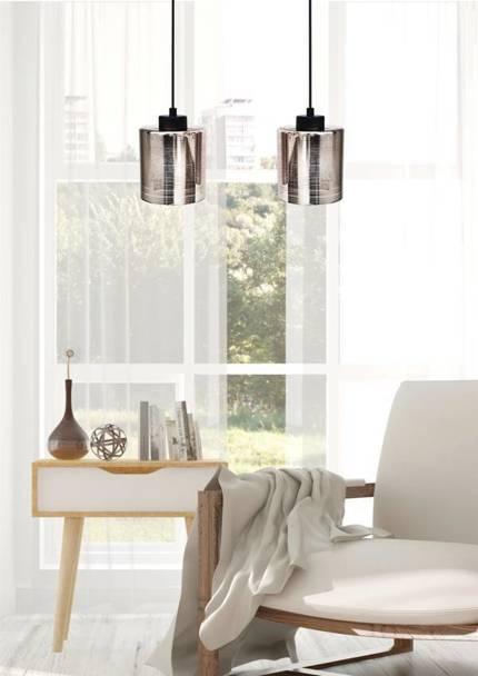 Lampa wisząca sufitowa chromowa szklana 2x60W Cox Candellux 32-53879