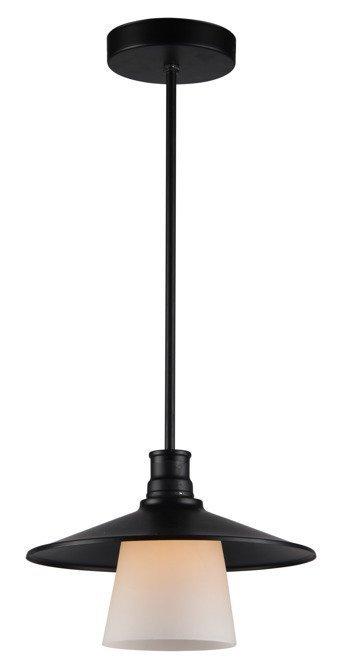 Lampa wisząca sufitowa czarna matowa biały klosz Loft Candellux 31-43108