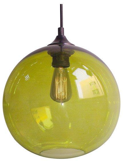 Lampa wisząca szklana kula zielona + żarówka Edison 31-29546