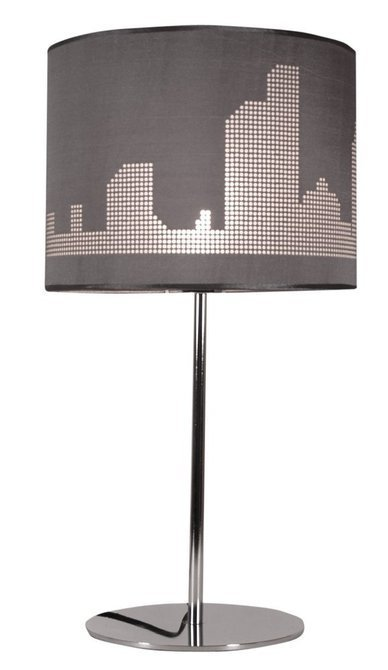 Lampka chrom stołowa nocna szary abażur tkany 60W Manhattan Candellux 41-55029