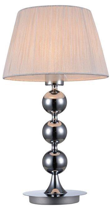 Lampka stołowa chromowa nocna biały tkany abażur Clara Candellux 41-21632
