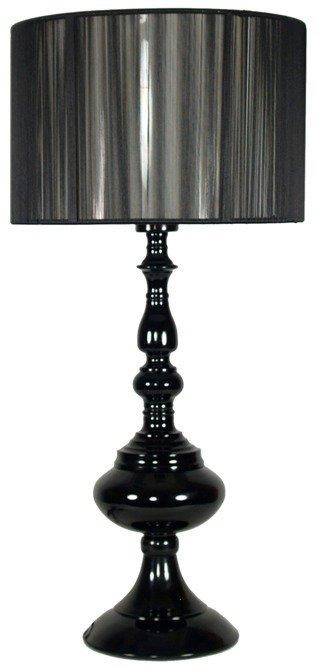 Lampka stołowa gabinetowa czarna abażur nitkowy Gillenia 41-21338