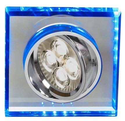 Oprawa Stropowa Oczko Candellux Ssu-22 Ch/Tr+Bl Gu10 50W+Led Smd 2 1W Niebieski 230V Chrom