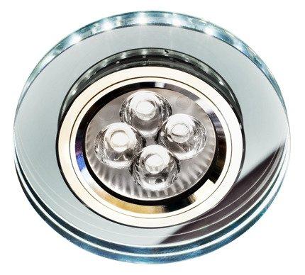 Oprawa stropowa oczko Candellux  SS-23 CH/TR+WH GU10 50W+LED SMD 230V BIAŁY CHROM OKRĄGŁA SZKŁO TRANSPARENTNE