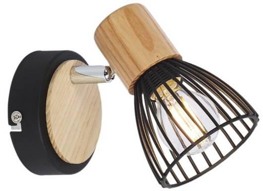 LAMPA ŚCIENNA KINKIET CANDELLUX ANTICA 91-60938     E14 CZARNY + DREWNO