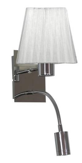 LAMPA ŚCIENNA KINKIET CANDELLUX SYLWANA 21-57150  E14 + LED Z WYŁĄCZNIKIEM CHROM / BIAŁY KWADRAT