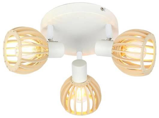 LAMPA SUFITOWA  CANDELLUX ATARRI 98-68118 PLAFON  E14 BIAŁY+DREWNO