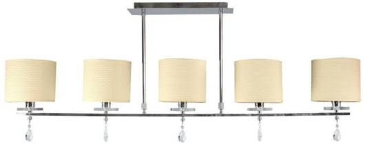 Lampa sufitowa chrom listwa 5x40W tkany abażur Estera Candellux 35-11527