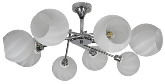 Lampa sufitowa chromowa klosz biały 8x40W Raul Candellux 38-72290