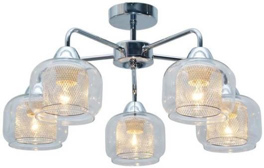 Lampa sufitowa chromowa szklany klosz koszyk 5x40W Candellux Ray 35-67104
