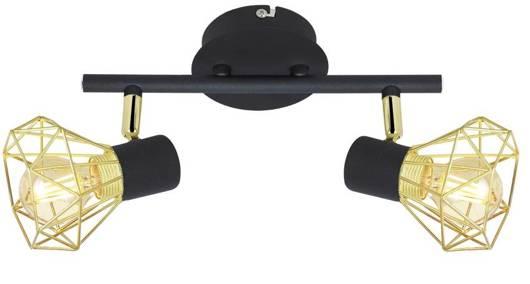 Lampa sufitowa listwa 2X40W E14 czarny abażur złoty VERVE 92-63175