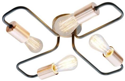 Lampa sufitowa plafon 4X60W E27 czarny HERPE 34-66923