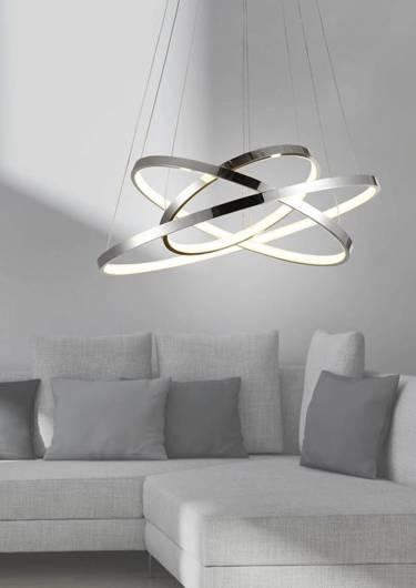 Lampa sufitowa wisząca LED potrójny 60W 4000K chrom LUNE 33-64738