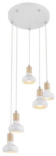 Lampa sufitowa wisząca biała na talerzu 5x40W Puerto Candellux 35-62772