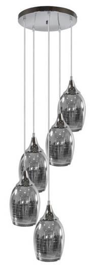 Lampa sufitowa wisząca chromowa talerz 5x60W Marina Candellux  35-60198