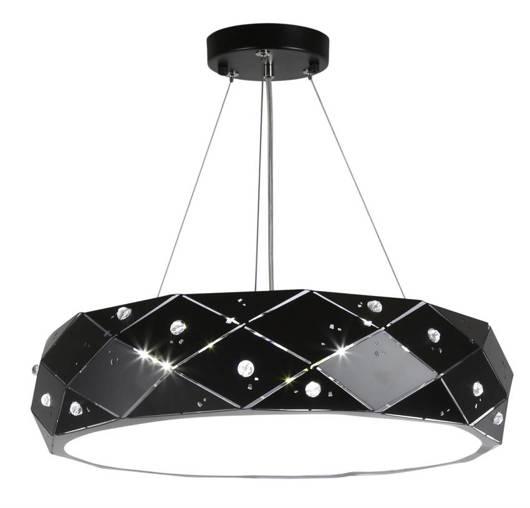 Lampa wisząca LED czarna okrągła z kryształami 24W Glance Candellux 31-64868