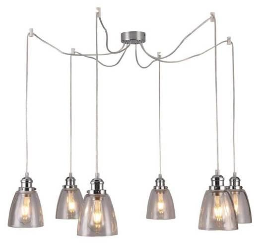 Lampa wisząca chromowa szklane klosze 6x40W Voice Candellux 36-70845