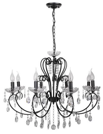 Lampa wisząca czarna z kryształami żyrandol 8x40W Aurora Candellux 38-73747