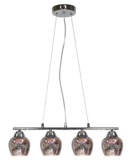 Lampa wisząca regulowana chrom 3D szklany klosz Sirius Candellux 34-59628