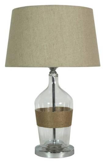 Lampka stołowa beżowe płótno 25x47cm Eco 41-21519